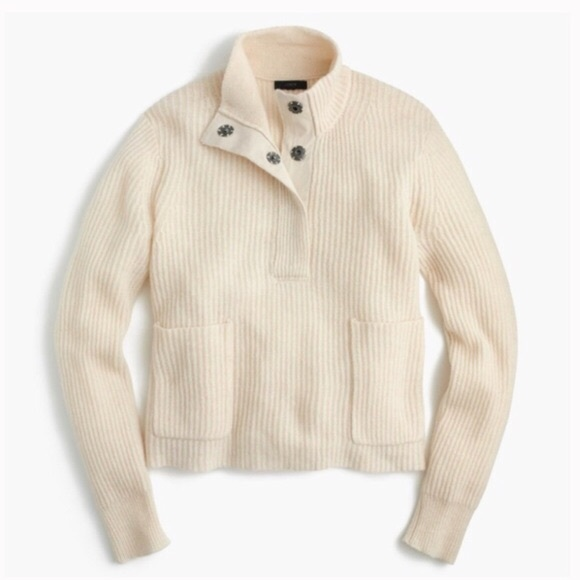 500ae73d713 J. Crew Sweaters - J Crew 100% Lambswool Ribbed Popover Sweater Snaps